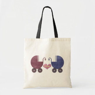Boy and Girl Baby Twins, Pram Art Design Tote Bag