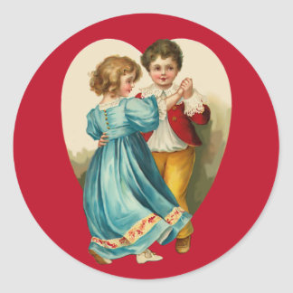 Boy and Girl Dancing Classic Round Sticker
