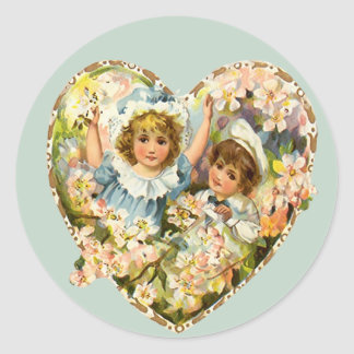 Boy and Girl Floral Heart Classic Round Sticker
