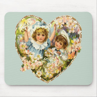 Boy and Girl Floral Heart Mouse Pad