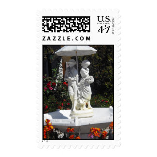 Boy and Girl Fountain Postage Stamps