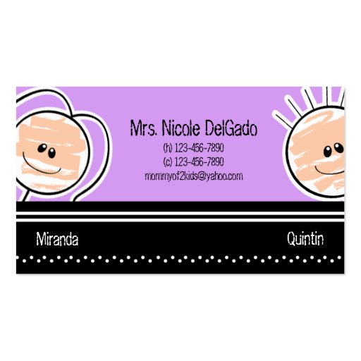 Boy and Girl Mommy Calling Card Babysitting Business Card Template