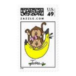 Boy and Girl Monkey Twins Postage Stamps