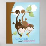 Boy and Girl Monkeys WALL ART PRINT 16x20