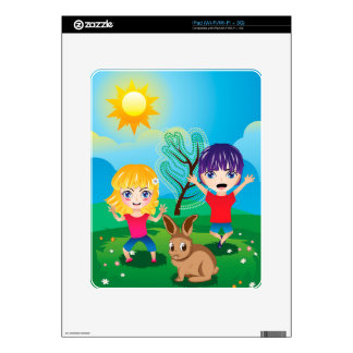 Boy and Girl on Lawn 2 Decals For The iPad