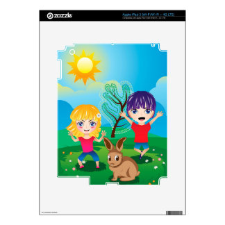 Boy and Girl on Lawn 2 Skins For iPad 3