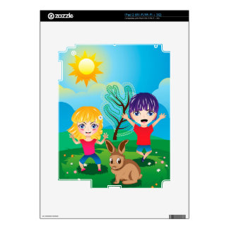 Boy and Girl on Lawn 2 Skins For The iPad 2