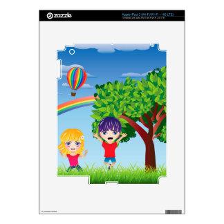 Boy and Girl on Lawn 3 iPad 3 Decal