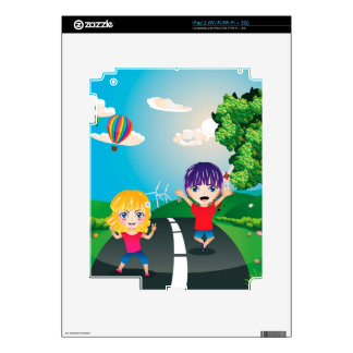 Boy and Girl on Lawn 4 Decals For iPad 2