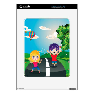 Boy and Girl on Lawn 4 Skins For iPad