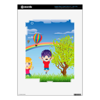 Boy and Girl on Lawn Skins For iPad 3