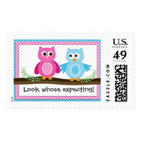 Boy and Girl Owl Twin Theme Postage Stamp