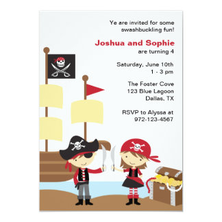 Boy and Girl Pirate Invitations