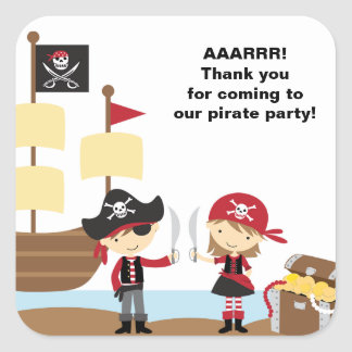 Boy and Girl Pirate Stickers Square Stickers