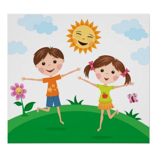 Boy and girl playing outside in the summer poster