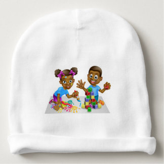 Boy and Girl Playing with Blocks and Paint Baby Beanie