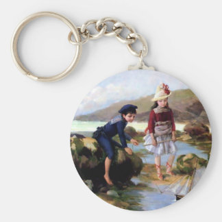 Boy and Girl playing with Toy Sail Ship painting Key Chains