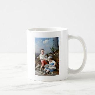 Boy and Girl Reading books painting Coffee Mug