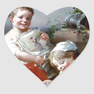 Boy and Girl Reading books painting Heart Sticker