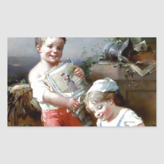 Boy and Girl Reading books painting Rectangular Sticker