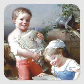 Boy and Girl Reading books painting Square Sticker