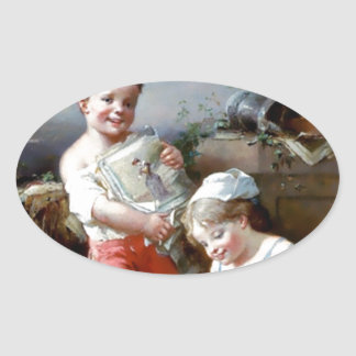 Boy and Girl Reading books painting Oval Sticker