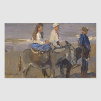 Boy and Girl Riding Donkeys - Isaac Israëls Rectangular Sticker