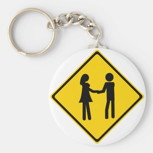 Boy and Girl Road Sign Key Chains