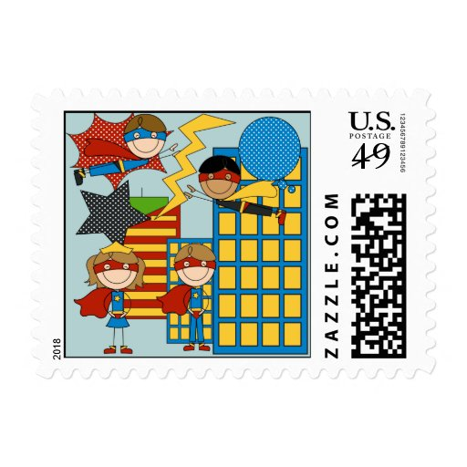 Boy and Girl Super Heroes postage stamps