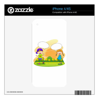 Boy and girl talking in the park iPhone 4S decals