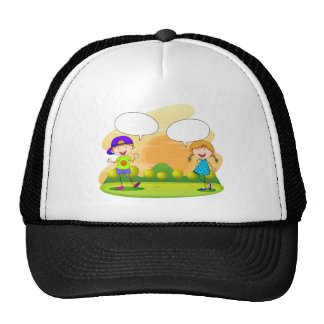Boy and girl talking in the park trucker hat