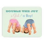 Boy and Girl Twin Baby Shower Invitation