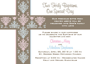 twins baptism christening invitations zazzle