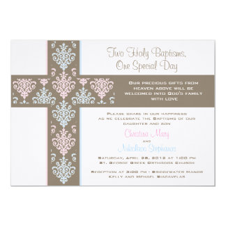 Boy and Girl Twin Christening  Invitation