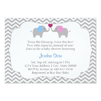 Boy And Girl Twins Baby Shower Card