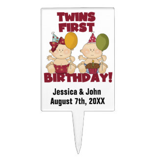 Boy and Girl Twins First Birthday Cake Topper