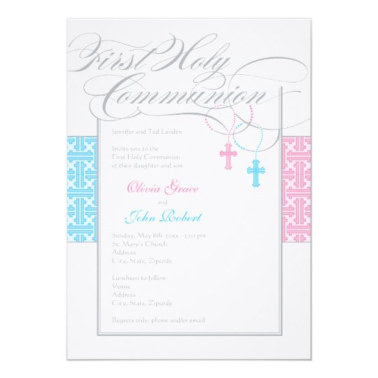 Boy And Girl Twins First Communion Invitation