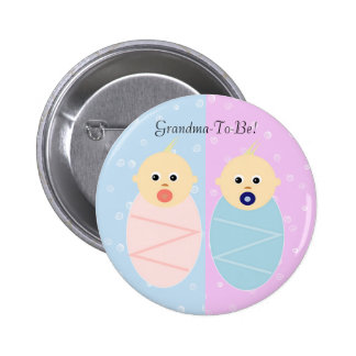 Boy and Girl Twins Grandmother Button