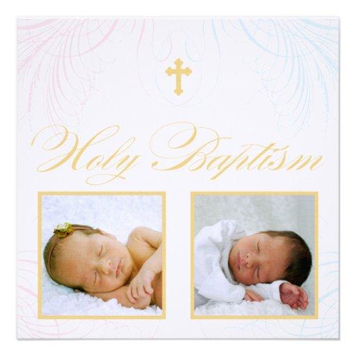 Boy and Girl Twins Photo Baptism Invitation