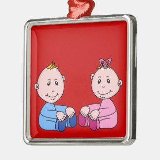 Boy And Girl Twins Square Metal Christmas Ornament