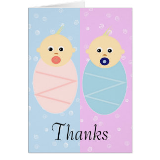 Boy and Girl Twins Thank You Card