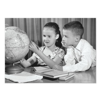 Boy and Girl Viewing Globe 5x7 Paper Invitation Card