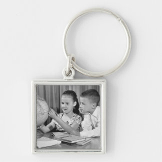 Boy and Girl Viewing Globe Keychain