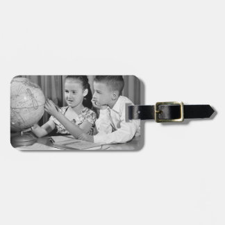 Boy and Girl Viewing Globe Luggage Tag