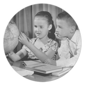 Boy and Girl Viewing Globe Plate