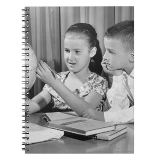 Boy and Girl Viewing Globe Spiral Notebook