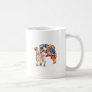 Boy and Girl Waving Flags Coffee Mug