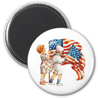 Boy and Girl Waving Flags Magnet