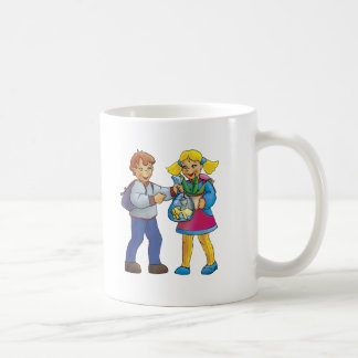 Boy and girl with golden fish coffee mug