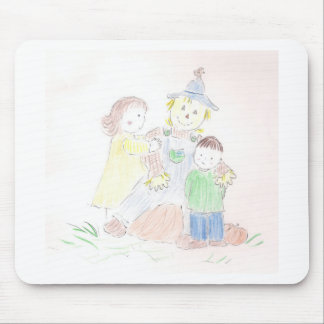 Boy and Girl with Scarecrow Mouse Pad